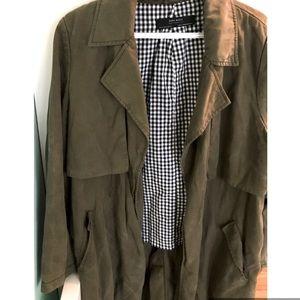 2/$30 Zara Green Waterfall Trench Jacket
